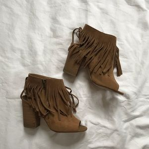 Tan Fringe Suede Booties size 8
